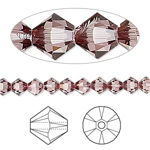bead, swarovski crystals, crystal passions, crystal antique pink, 5mm xilion bicone (5328). sold per pkg of 24.