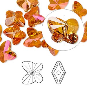 bead, swarovski crystals, crystal passions, crystal astral pink, 10x9mm faceted butterfly (5754). sold per pkg of 48.
