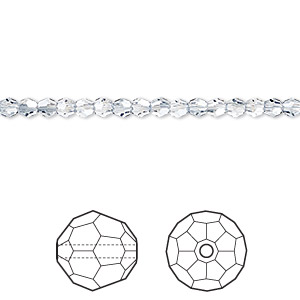bead, swarovski crystals, crystal passions, crystal blue shade, 3mm faceted round (5000). sold per pkg of 144 (1 gross).