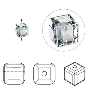 bead, swarovski crystals, crystal passions, crystal blue shade, 6x6mm faceted cube (5601). sold per pkg of 6.
