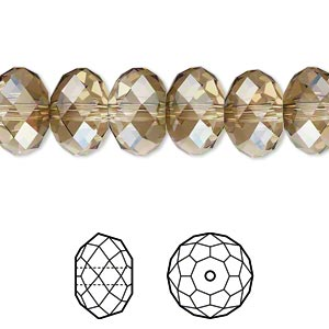bead, swarovski crystals, crystal passions, crystal bronze shade, 12x8mm faceted rondelle (5040). sold per pkg of 144 (1 gross).