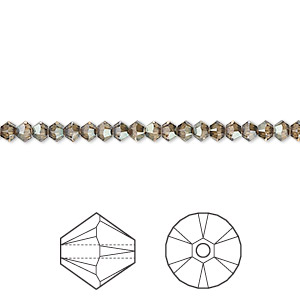 bead, swarovski crystals, crystal passions, crystal bronze shade, 3mm xilion bicone (5328). sold per pkg of 48.