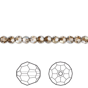 bead, swarovski crystals, crystal passions, crystal bronze shade, 4mm faceted round (5000). sold per pkg of 720 (5 gross).