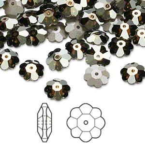 bead, swarovski crystals, crystal passions, crystal bronze shade, foil back, 8x3mm faceted marguerite lochrose flower (3700). sold per pkg of 12.
