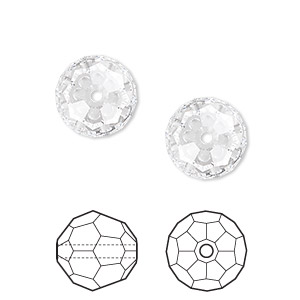 bead, swarovski crystals, crystal passions, crystal clear, 12mm faceted round (5000). sold per pkg of 2.