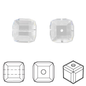 bead, swarovski crystals, crystal passions, crystal clear, 12x12mm faceted cube (5601). sold individually.