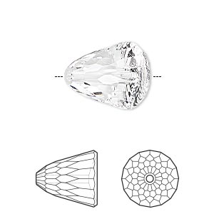 bead, swarovski crystals, crystal passions, crystal clear, 15x13.5mm faceted dome large (5541). sold per pkg of 6.