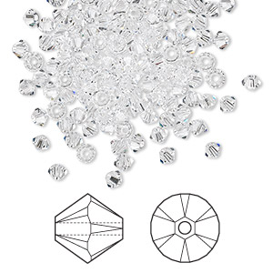 bead, swarovski crystals, crystal passions, crystal clear, 3mm xilion bicone (5328). sold per pkg of 144 (1 gross).
