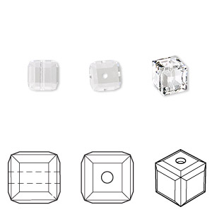 bead, swarovski crystals, crystal passions, crystal clear, 6x6mm faceted cube (5601). sold per pkg of 48.