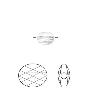 bead, swarovski crystals, crystal passions, crystal clear, 8x6mm faceted mini oval (5051). sold per pkg of 24.