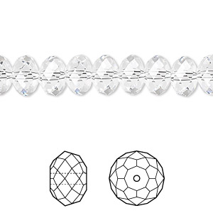 bead, swarovski crystals, crystal passions, crystal clear, 8x6mm faceted rondelle (5040). sold per pkg of 12.