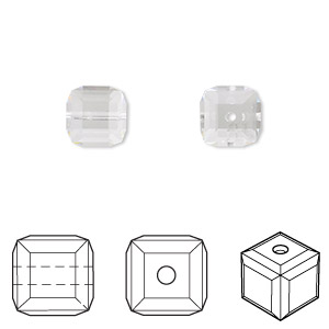 bead, swarovski crystals, crystal passions, crystal clear, 8x8mm faceted cube (5601). sold per pkg of 96.