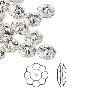 bead, swarovski crystals, crystal passions, crystal clear, foil back, 10x3.5mm faceted marguerite lochrose flower (3700). sold per pkg of 12.