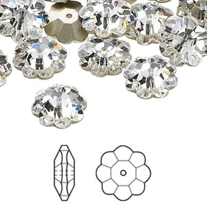 bead, swarovski crystals, crystal passions, crystal clear, foil back, 12x4mm faceted marguerite lochrose flower (3700). sold per pkg of 12.