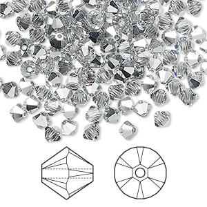 bead, swarovski crystals, crystal passions, crystal comet argent light, 4mm xilion bicone (5328). sold per pkg of 144 (1 gross).
