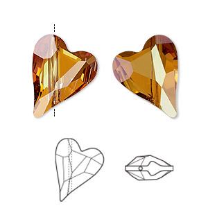 bead, swarovski crystals, crystal passions, crystal copper, 17x13mm diagonally drilled left- and right-facing faceted wild heart (5743). sold per pkg of 2.