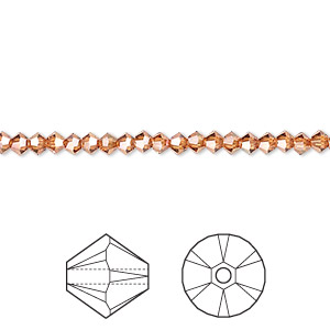 bead, swarovski crystals, crystal passions, crystal copper, 3mm xilion bicone (5328). sold per pkg of 48.