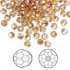 bead, swarovski crystals, crystal passions, crystal copper, 4mm faceted round (5000). sold per pkg of 144 (1 gross).