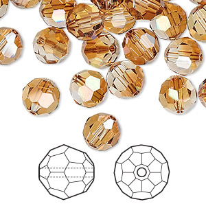 bead, swarovski crystals, crystal passions, crystal copper, 8mm faceted round (5000). sold per pkg of 144 (1 gross).