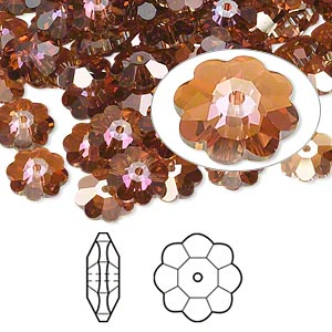 bead, swarovski crystals, crystal passions, crystal copper, 8x3mm faceted marguerite lochrose flower (3700). sold per pkg of 12.