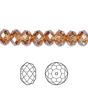 bead, swarovski crystals, crystal passions, crystal copper, 8x6mm faceted rondelle (5040). sold per pkg of 12.