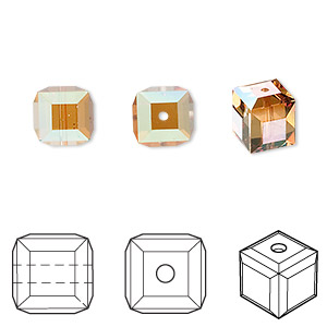 bead, swarovski crystals, crystal passions, crystal copper, 8x8mm faceted cube (5601). sold per pkg of 48.