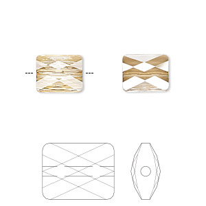 bead, swarovski crystals, crystal passions, crystal golden shadow, 10x8mm faceted mini rectangle (5055). sold per pkg of 2.