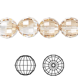 bead, swarovski crystals, crystal passions, crystal golden shadow, 12mm faceted chessboard round (5005). sold per pkg of 72.
