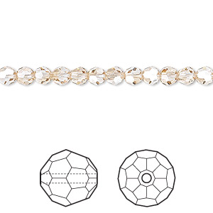bead, swarovski crystals, crystal passions, crystal golden shadow, 4mm faceted round (5000). sold per pkg of 12.