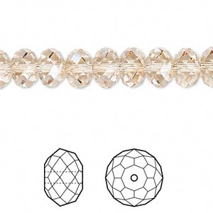 bead, swarovski crystals, crystal passions, crystal golden shadow, 8x6mm faceted rondelle (5040). sold per pkg of 12.
