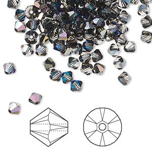 bead, swarovski crystals, crystal passions, crystal heliotrope, 4mm xilion bicone (5328). sold per pkg of 48.