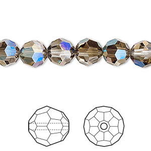 bead, swarovski crystals, crystal passions, crystal iridescent green, 8mm faceted round (5000). sold per pkg of 144 (1 gross).
