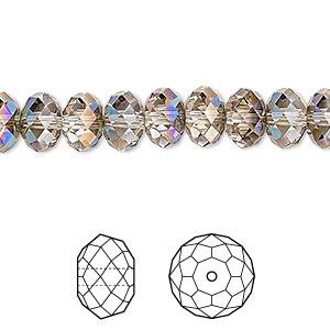 bead, swarovski crystals, crystal passions, crystal iridescent green, 8x6mm faceted rondelle (5040). sold per pkg of 12.