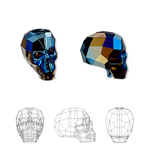 bead, swarovski crystals, crystal passions, crystal metallic blue 2x, 14x13x10mm faceted skull (5750). sold individually.