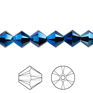 bead, swarovski crystals, crystal passions, crystal metallic blue 2x, 8mm xilion bicone (5328). sold per pkg of 12.