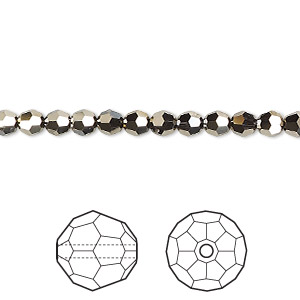 bead, swarovski crystals, crystal passions, crystal metallic light gold 2x, 4mm faceted round (5000). sold per pkg of 144 (1 gross).