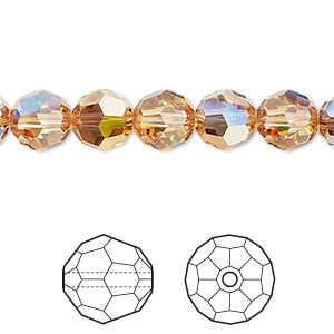 bead, swarovski crystals, crystal passions, crystal metallic sunshine, 8mm faceted round (5000). sold per pkg of 12.