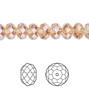 bead, swarovski crystals, crystal passions, crystal metallic sunshine, 8x6mm faceted rondelle (5040). sold per pkg of 12.