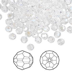 bead, swarovski crystals, crystal passions, crystal moonlight, 4mm faceted round (5000). sold per pkg of 144 (1 gross).