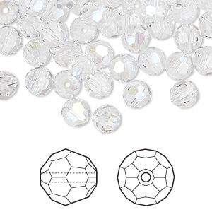 bead, swarovski crystals, crystal passions, crystal moonlight, 6mm faceted round (5000). sold per pkg of 144 (1 gross).