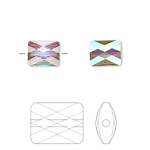 bead, swarovski crystals, crystal passions, crystal paradise shine, 10x8mm faceted mini rectangle (5055). sold per pkg of 2.