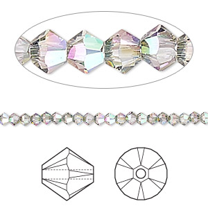 bead, swarovski crystals, crystal passions, crystal paradise shine, 3mm xilion bicone (5328). sold per pkg of 48.