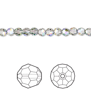 bead, swarovski crystals, crystal passions, crystal paradise shine, 4mm faceted round (5000). sold per pkg of 12.