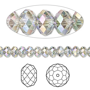 bead, swarovski crystals, crystal passions, crystal paradise shine, 6x4mm faceted rondelle (5040). sold per pkg of 144 (1 gross).