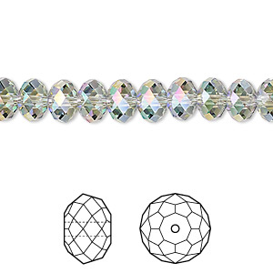 bead, swarovski crystals, crystal passions, crystal paradise shine, 8x6mm faceted rondelle (5040). sold per pkg of 12.