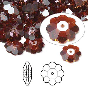 bead, swarovski crystals, crystal passions, crystal red magma, 10x3.5mm faceted marguerite lochrose flower (3700). sold per pkg of 12.