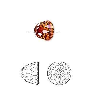 bead, swarovski crystals, crystal passions, crystal red magma, 10x8mm faceted dome small (5542). sold individually.