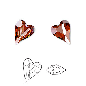bead, swarovski crystals, crystal passions, crystal red magma, 12x10mm diagonally drilled faceted wild heart (5743). sold per pkg of 108.