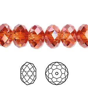 bead, swarovski crystals, crystal passions, crystal red magma, 12x8mm faceted rondelle (5040). sold per pkg of 2.