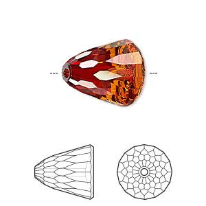 bead, swarovski crystals, crystal passions, crystal red magma, 15x13.5mm faceted dome large (5541). sold individually.
